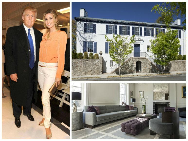 Donaldas Trumpas su dukra Ivanka Trump ir naujieji jos namai Vašingtone