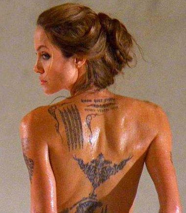 """""""Scanpix"""" nuotr./Tatuiruotės ant Angelinos Jolie kūno"""