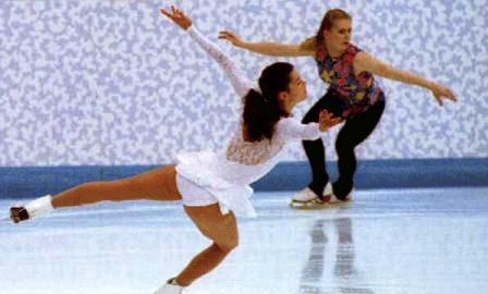 Tonia Harding ir jos pagrindinė konkurentė Nancy Kerrigan