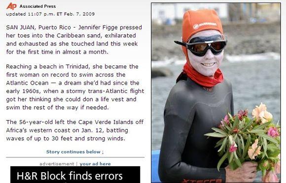 Jennifer Figge perplaukė Atlanto vandenyną.