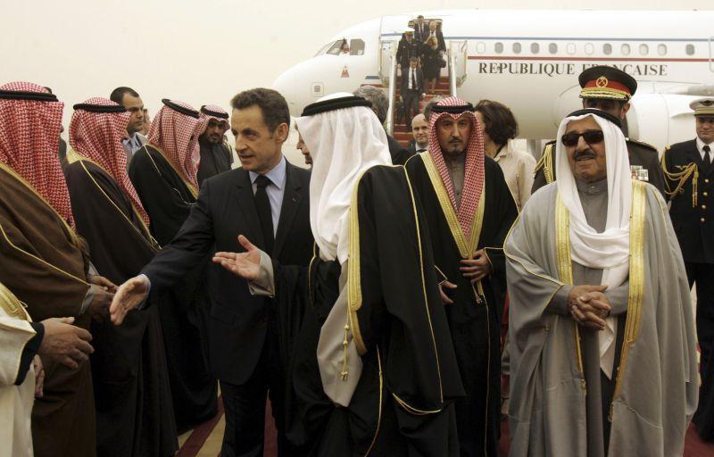 Kuveito šeichai su Prancūzijos prezidentu Nicolas Sarkozy.