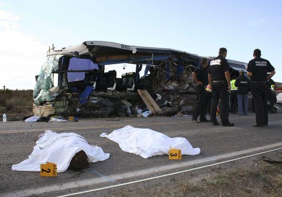 Meksikoje pirmadienį vakare avariją patyrė autobusas, vežęs turistus iš Kanados ir JAV.