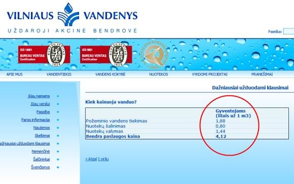 Vandens tiekėjai pirmadienį vis dar patys skelbią senąją paslaugos kainą.