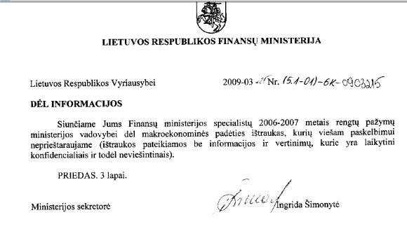 Finansų ministerijos pažyma