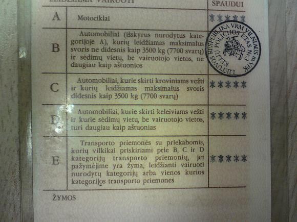Seno pavyzdžio vairuotojo pažymėjimas