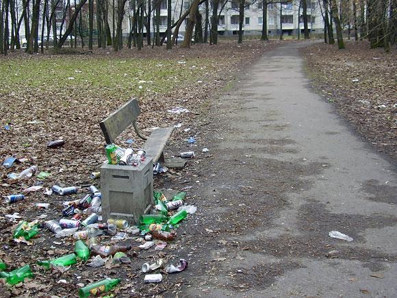Šiukšlės Dainavos parke Kaune