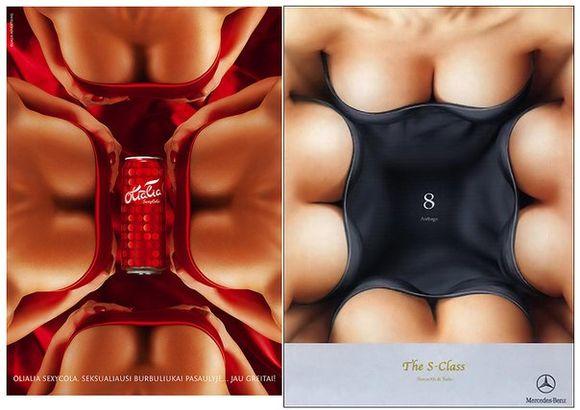 """SexyCola"" ir ""Mercedes Benz S-Class : 8 Airbags"" reklaminiai plakatai"