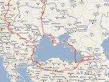 """Žygio """"Aplink Juodąją jūrą"""" žemėlapis"""