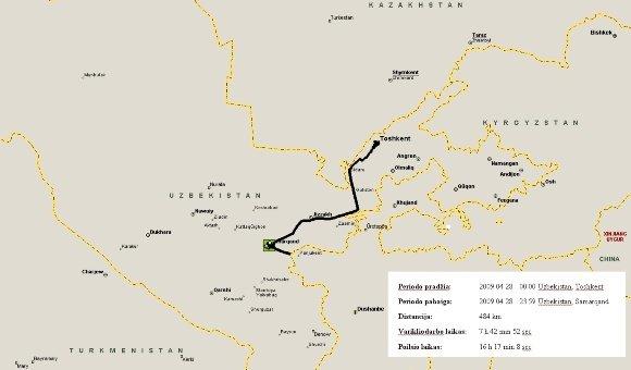 V.Miliaus nuotr./Balandžio 28 d. kelionės žemėlapis