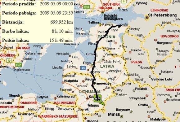 UAB Altas IT transporto stebėjimo sistema/V.Miliaus gegužės 9 d. kelionė