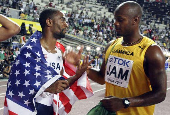 Asafa Powellas ir Tysonas Guy Osakoje 2007 metais