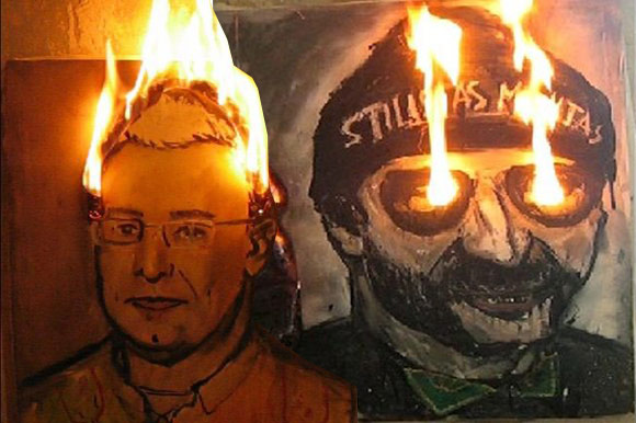 Menininkas Gytautas Balkevičius Joninių laužui padegė savo paveikslus