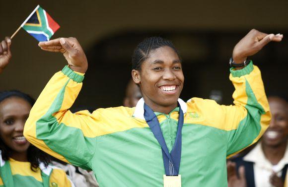 Bėgikės Caster Semenya sutiktuvės Johannesburge (Pietų Afrikos respublika)