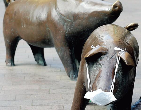 Vokietijoje Brėmeno mieste net bronzinės kiaulės su kaukėmis.