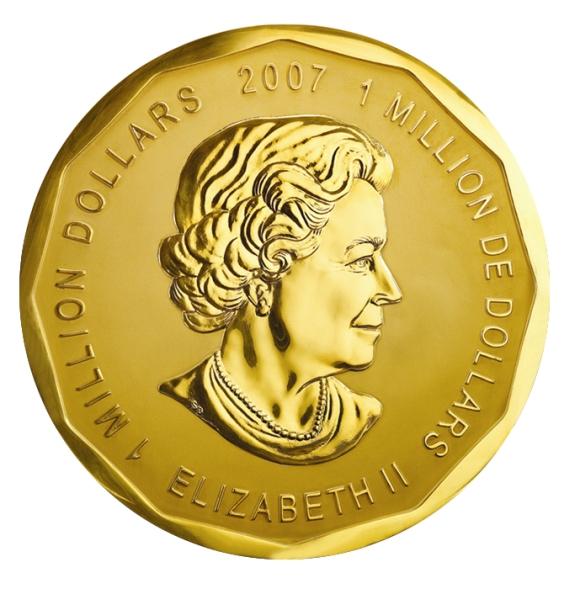 Didžiausios pasaulyje auksinės monetos, nukaldintos Karališkojoje Kanados monetų kalykloje aversas ir reversas.