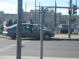 Aurelijos Kripaitės nuotr./Po susidūrimo Mazda užvažiavo ant šaligatvio.