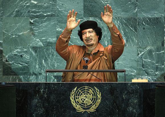 Muammaras al-Kaddafis JT tribūnoje