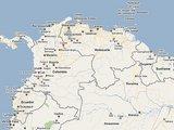 """""""Google Maps"""" žemėlapis/Venesuelą ir Kolumbiją jungia bendra ilgensnė nei 2100 km ilgio sausumos siena."""