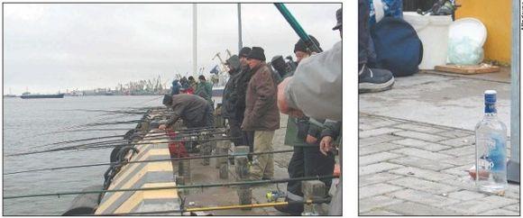 Ant kruizinių laivų terminalo krantinės, ties Dangės žiotimis, žvejai gaudo pirmąsias šio sezono stintas.