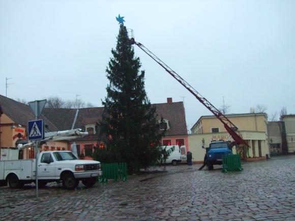 Klaipėdoje pradėta puošti Kalėdų eglė