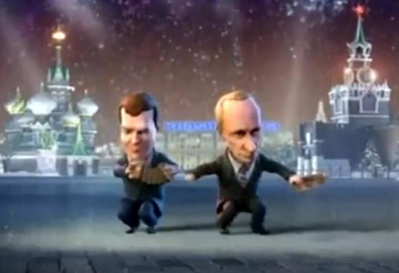 Karikatūriniai V.Putinas ir D.Medvedevas.