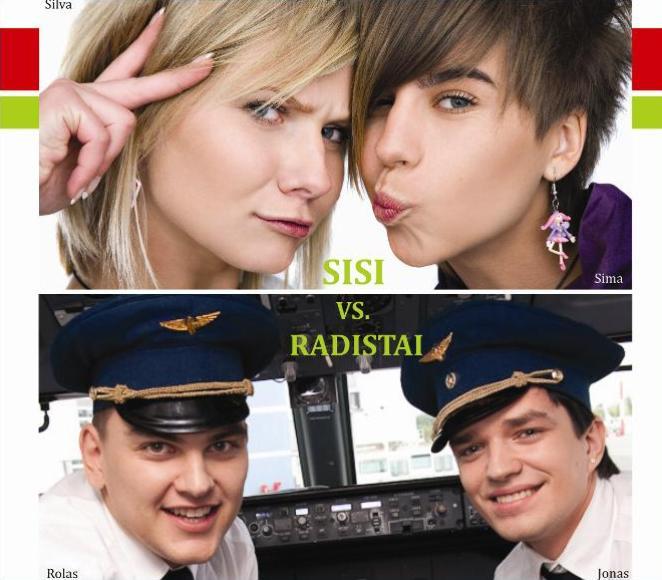 """Zip FM radijo laidų vedėjai """"Sisi"""" ir """"Radistai""""."""