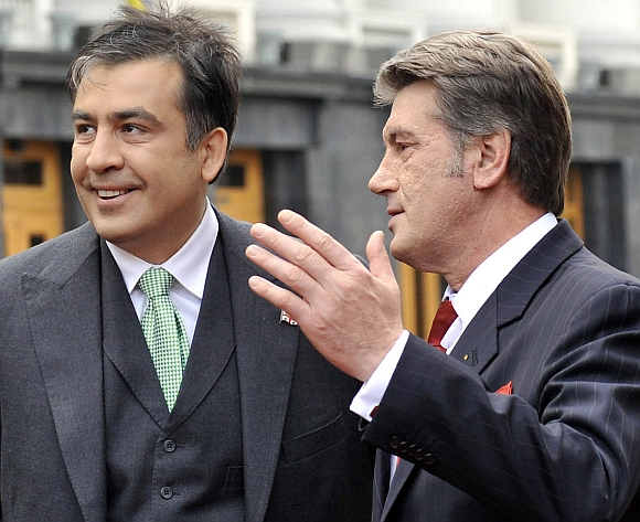 Michailas Saakašvilis ir Viktoras Juščenka