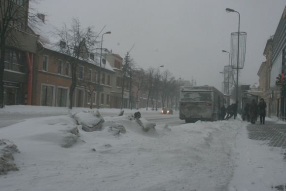 J.Andriejauskaitės nuotr./Snieguotos Klaipėdos gatvės.