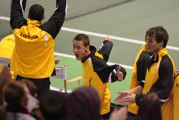 Lietuvos teniso rinktinės triumfo akimirka