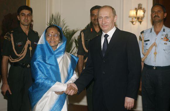 Indijos prezidentės Pratibhos Pati ir Vladimiras Putinas