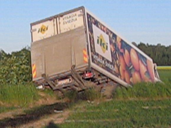 Dariaus G. filmuotos medžiagos stop kadras/Sunkvežimis atsidūrė griovyje