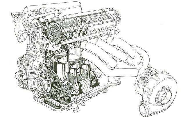 BMW keturių cilindrų variklis su turbina.