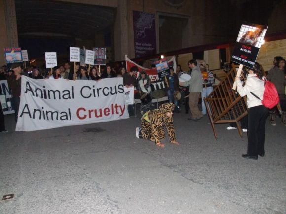Protestuotojai cirko žiūrovus pasitiko ir išlydėjo su plakatais ir skanduotėmis.