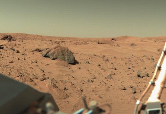 NASA nuotr./Viking-1 kamera užfiksuotas Marso paviraiaus vaizdas