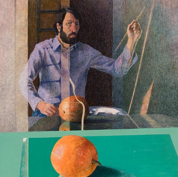 Algimantas Švėgžda. Autoportretas su moliūgu.