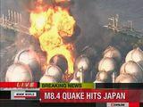 Reuters/Scanpix nuotr./Gaisras dujų saugykloje po žemės drebėjimo