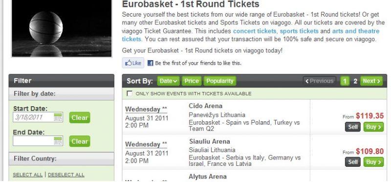 viagogo.com svetainėje siūloma įsigyti bilietų į Europos čempionatą