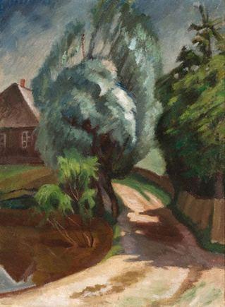 """Vilniaus paveikslų galerijos nuotr./Justinas Vienožinskis. """"Lietuviška sodyba"""". Dačiūnai, 1927"""