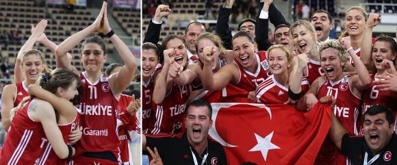 Patekusios į finalą Turkijos krepšininkės netramdė emocijų.