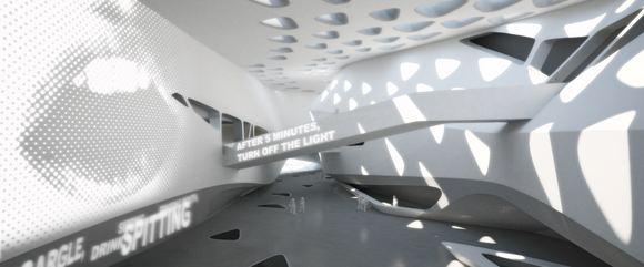 Projektų autorių vizualizacijos/Planuoto Guggenheimo muziejaus vidus (Z.Hadid projektas)