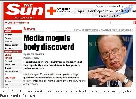 """Įsilaužėliai """"The Sun"""" svetainėje paskelbė, kad R.Murdochas negyvas."""