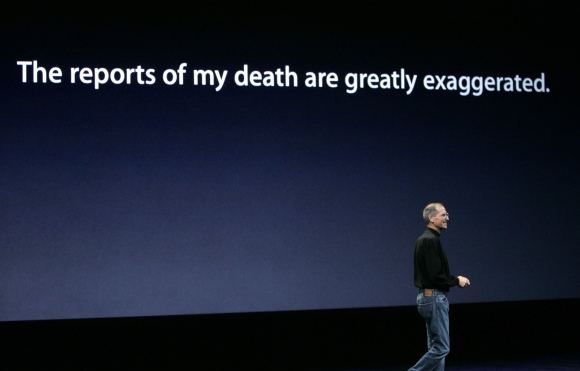 Reuters/Scanpix nuotr./Priea trejus metus Bloomberg per klaidą internete iapublikavus nekrologą apie S.Jobsą, ais atsakė raaytojo Marko Tveno garsiąja fraze: Gandai apie mano mirtį gerokai perdėti.