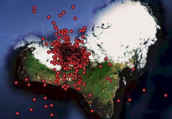 oko-planet.su nuotr/Precedento neturintis seisminis aktyvumas mažiausioje ia Kanarų salų  El Hiero  prasidėjo liepos 19 d. Iki rugsėjo 14 d. salos apylinkėse užregistruota daugiau kaip 6 tūkst. žemės drebėjimų.
