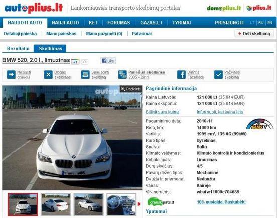 15min.lt/Parduodamas baltas penktosios klasės BMW
