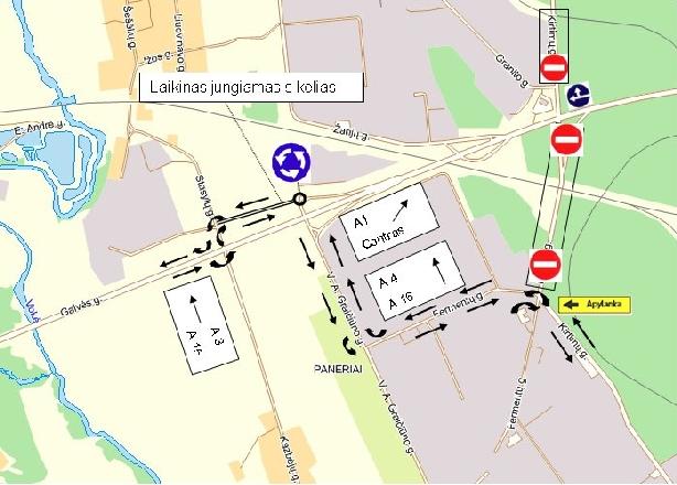 Eismo organizavimo pakeitimai Vilniaus m. pietinio aplinkkelio II etapo statybų metu