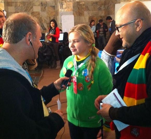 Paulina Skrabytė spaudos konferencijoje Jerevane