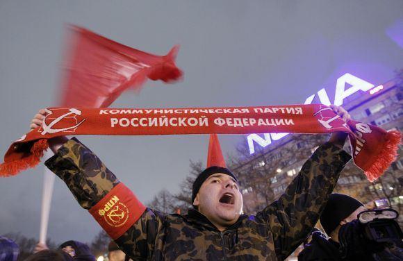 Reuters/Scanpix nuotr./Komunistų mitingas Maskvoje po Dūmos rinkimų