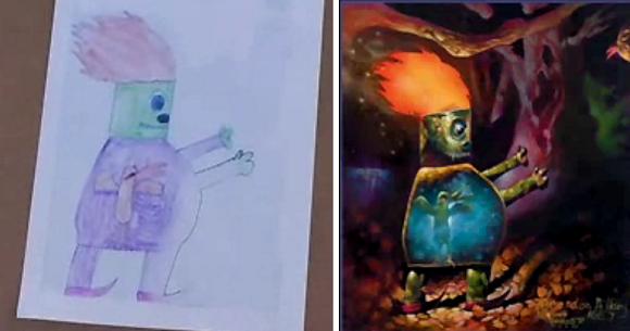 """Vaiko piešinys su jo """"gyvenimui prikeltu"""" variantu"""