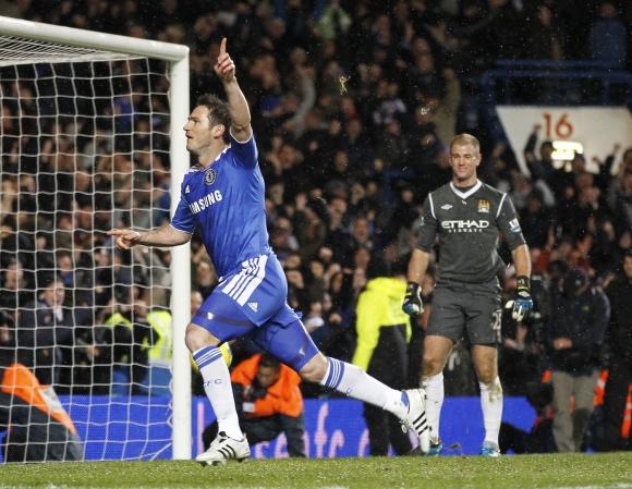 Franko Lampardo džiaugsmas po pergalingo įvarčio.