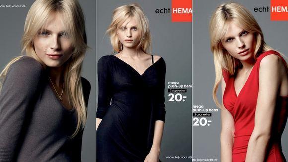 HEMA nuotr./Andrejus Pejicas reklamuoja krūtinę pakeliančias liemenėles